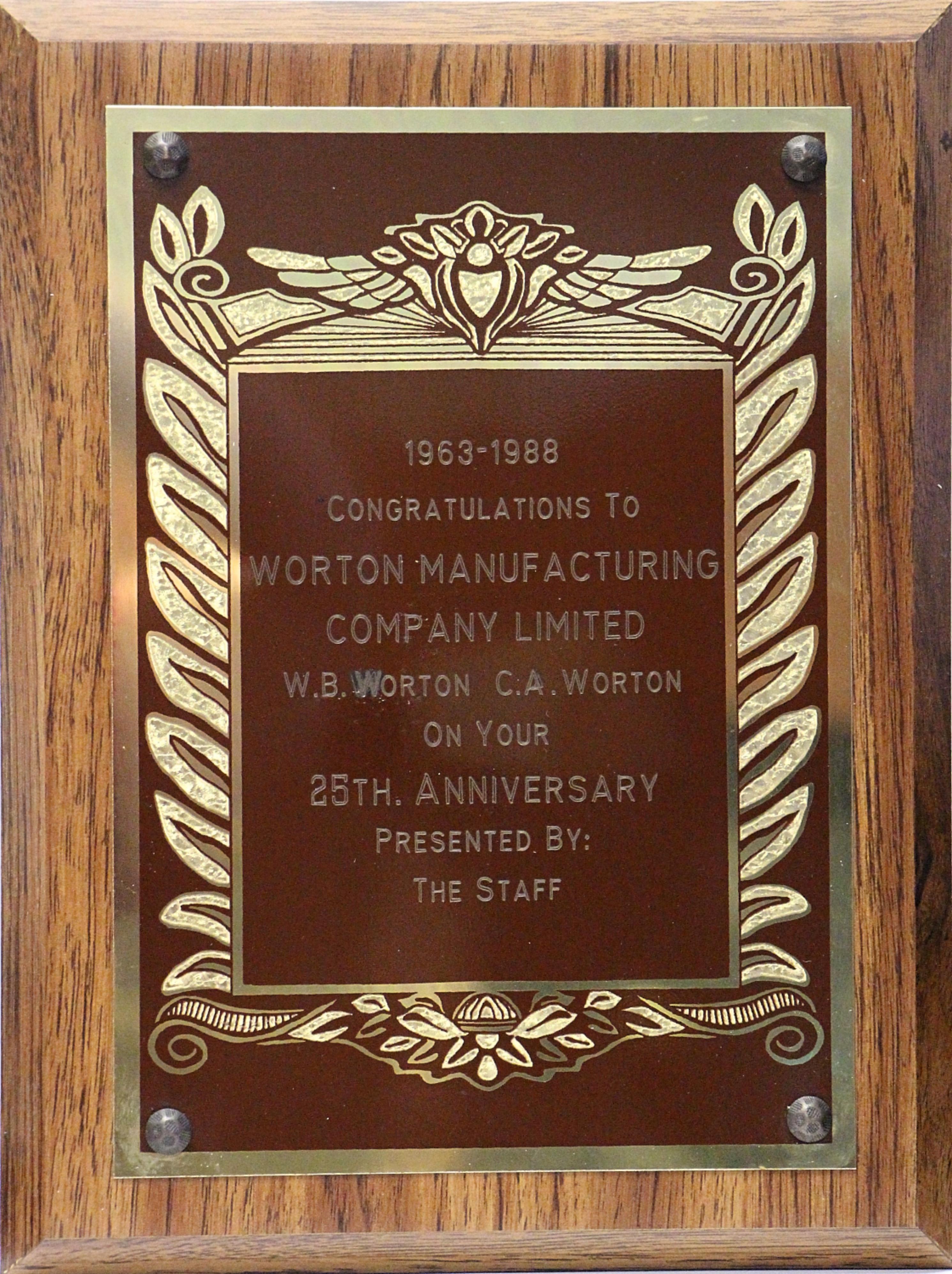 1988-25thAnniversary - Worton Manufacturing