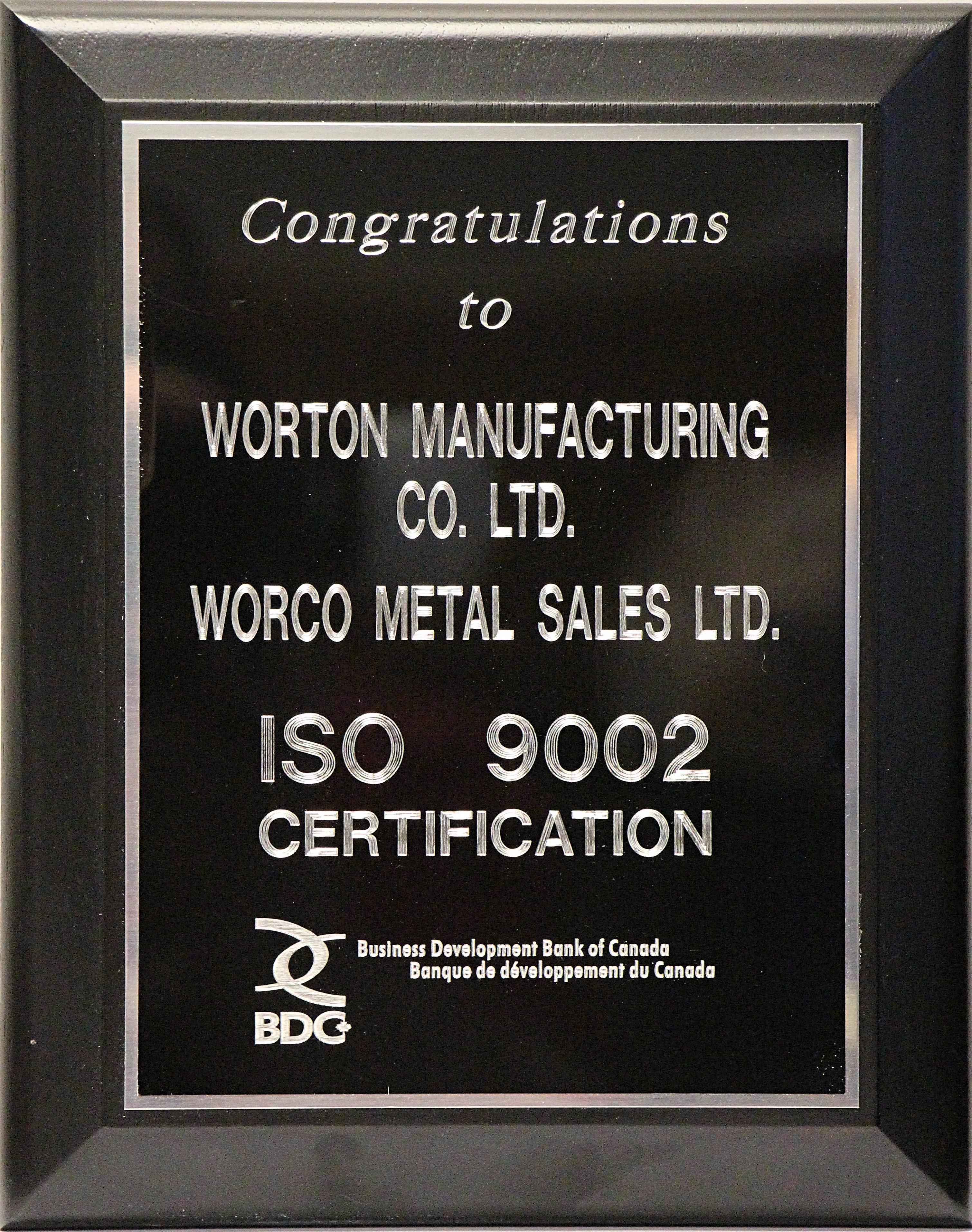 1999-ISOPlaque - Worton Manufacturing