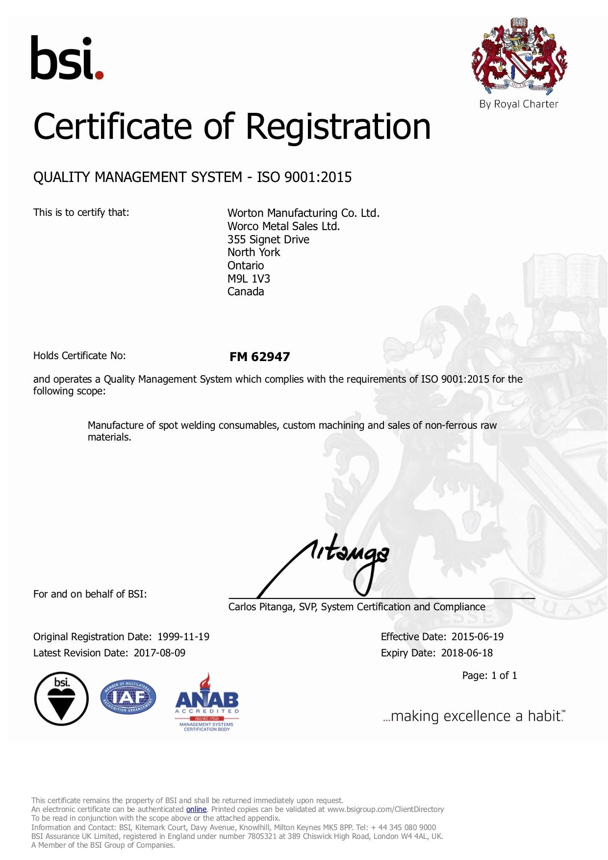ISO Cert 2017 FM 62947